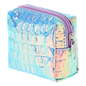 Faux Crocodile Holographic Tech Travel Kit with Pouch,