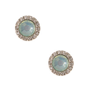 Blue Stone and Crystal Button Stud Earrings,