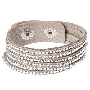 Gray and Silver Gem Snap Button Bracelet,