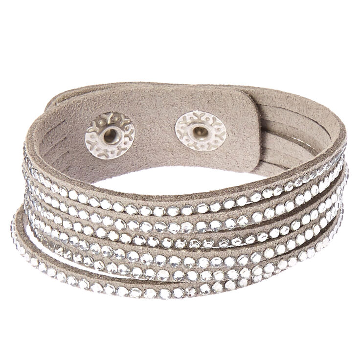 Gray and Silver Gem Snap Button Bracelet,