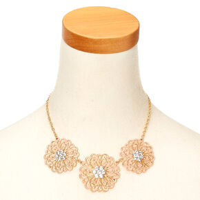 Gold-Tone and Blush Flower Statement Necklace and Earring Set,