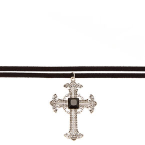 Black Faux Suede and Gothic Cross Choker Necklace,