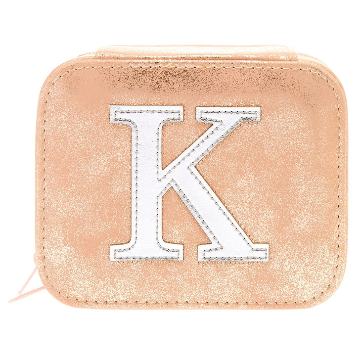 "Blush Pink ""K"" Initial Jewelry Case,"