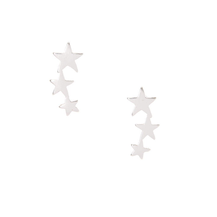 Sterling Silver Star Lineup Earrings,