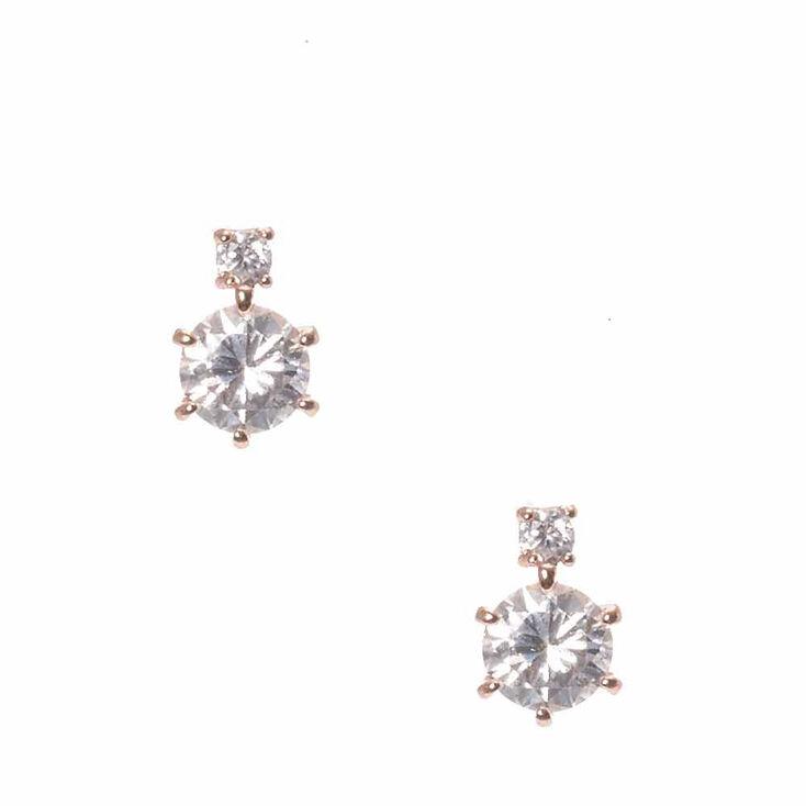 Rose Gold Cubic Zirconia Stud Earrings,