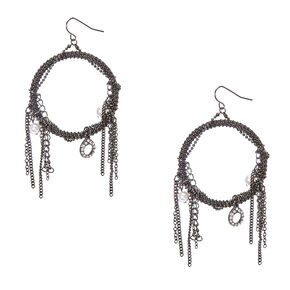 Gothic Hoop Drop Earrings,