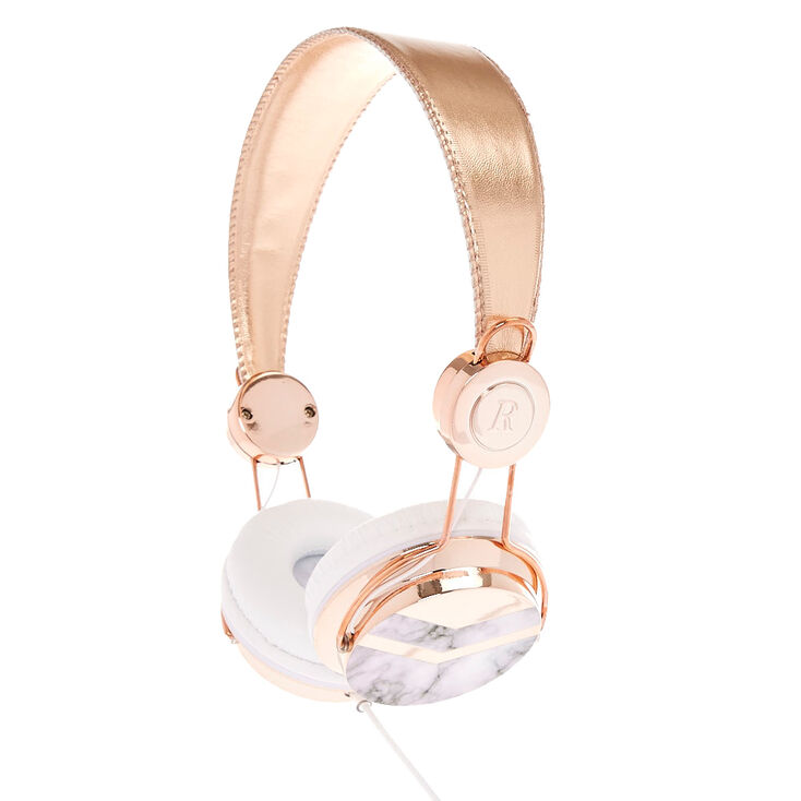 Rose Gold Tone And Marble Print Headphones Claire S