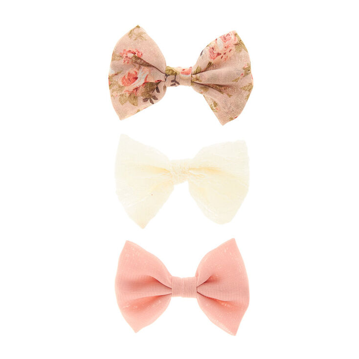Dainty Mesh Ribbon Bow Hair Clips Set,