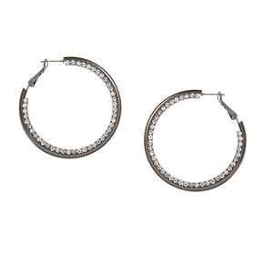 Rhinestone and Hematite Silver Glitter Band Hoop Earrings,