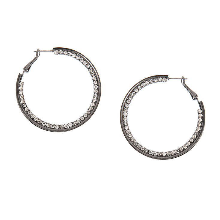 Rhinestone and Hematite Silver Glitter Band Hoop Earrings at Icing in Victor, NY | Tuggl