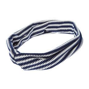 Navy and White Zig Zag Stripe Turban Head wrap,