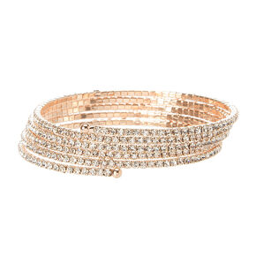 Thin Rose Gold and Rhinestone Coil Bracelet,