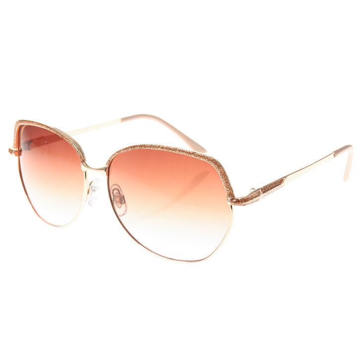 Round Frame Gold Glitter Sunglasses,