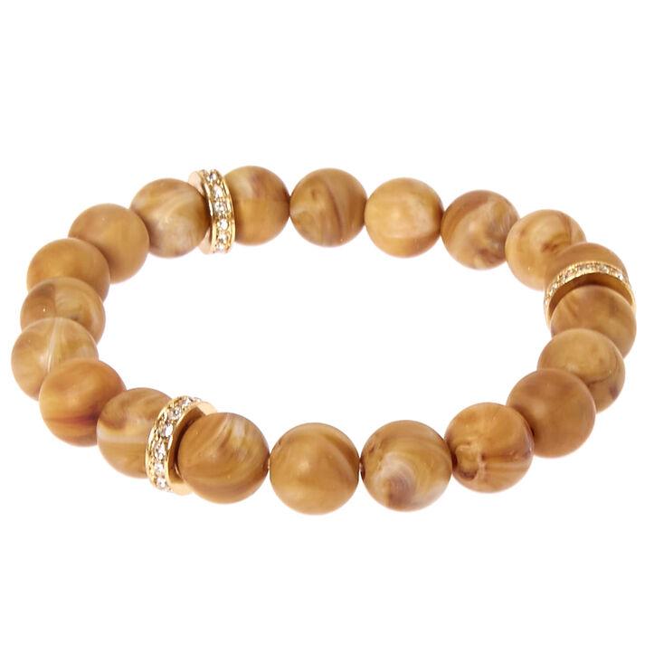 Brown Beaded Stretch Karma Bracelet,