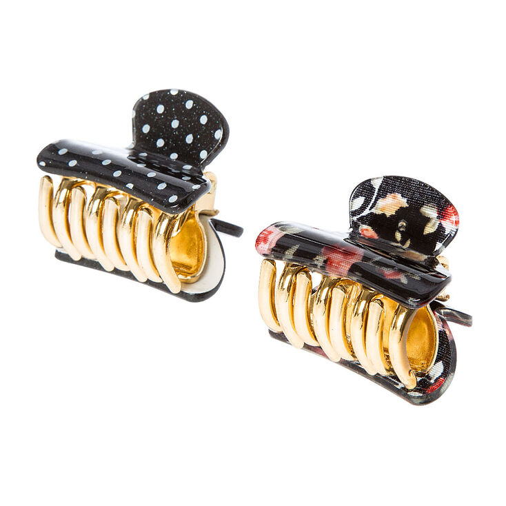 Black Floral and Polka Dot Claw Clips,
