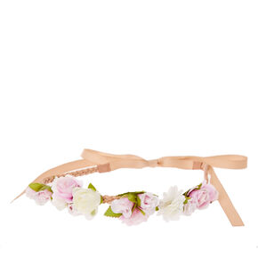Lilac and White Flower Clusters  Beige Faux Suede and Ribbon Headwrap,