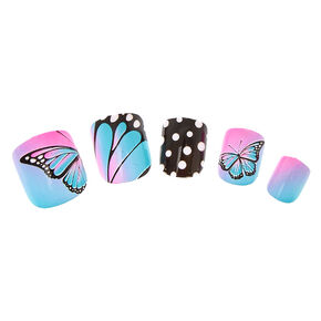 Butterfly Polka Dot Press On Faux Nails,