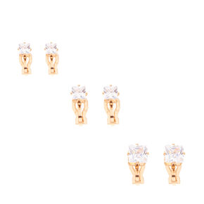 Gold Framed Square Cubic Zirconia Clip-on Stud Earrings,