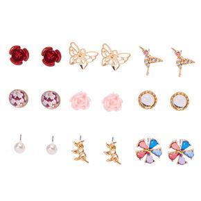 Gold-tone Butterfly Garden Motif Stud Earrings,