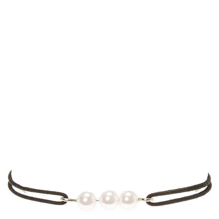 3-Pearl Black Elastic Bracelet,