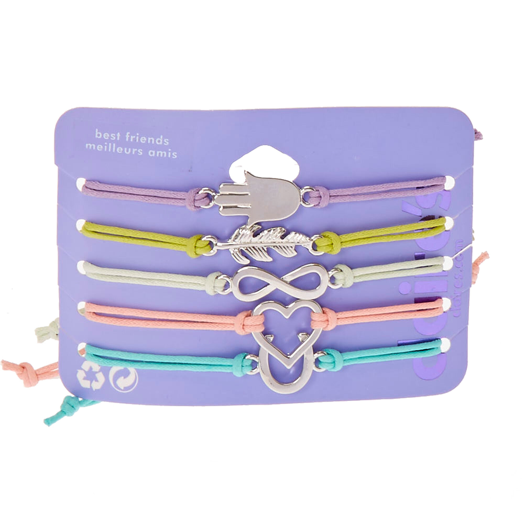Best Friends Pastel Cord with Silver Charms Bracelets