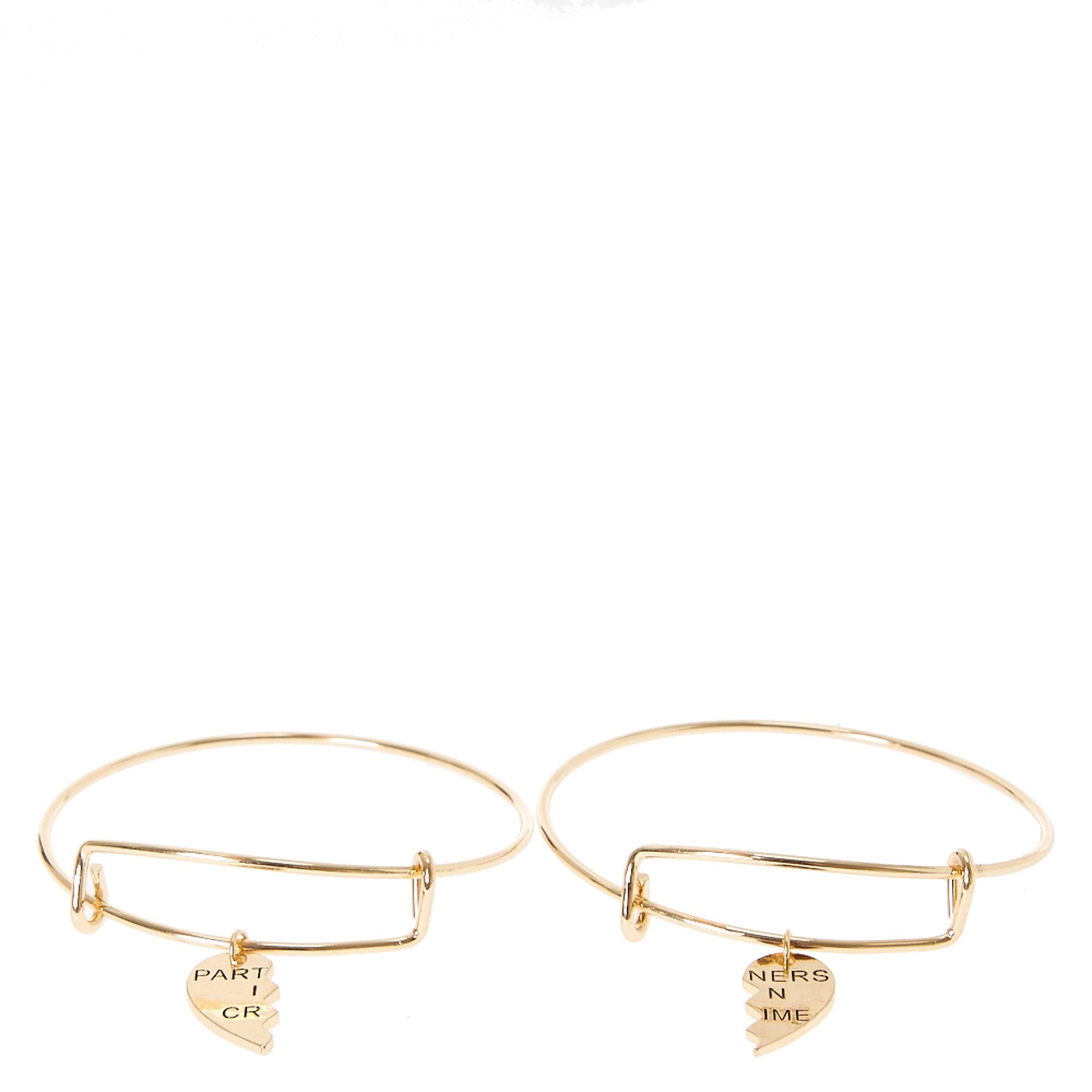 Gold Partners in Crime Split Heart Charm Bangle Bracelets