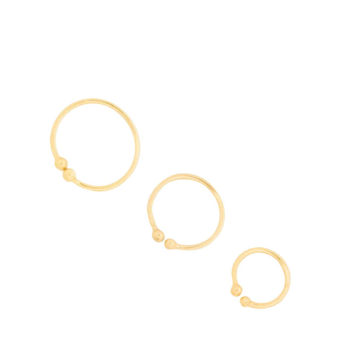 Graduated Gold Faux Nose Hoop Rings Set of 3,