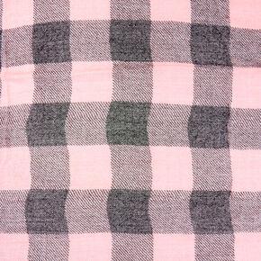 Pink and Black Plaid Blanket Scarf,