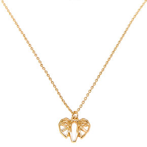 Gold Geometric Elephant Charm Necklace,