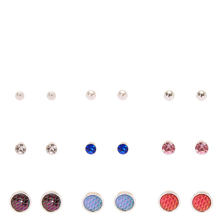 Silver-tone  Framed Mermaid Scales and Faux Crystal Stud Earrings,