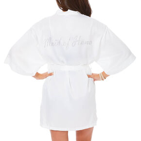 White Satin and Crystal Maid of Honor Robe,