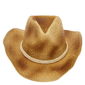 Beige Yarn Trim Tan Straw Cowboy hat,