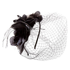 Black Floral Fascinator Headband,