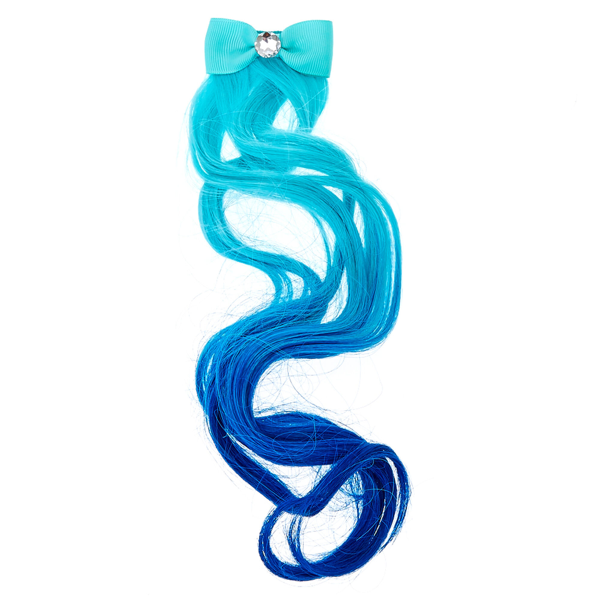 Fake hair clip ins extensions wigs claires us kids mint blue ombre faux hair extension pmusecretfo Choice Image