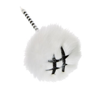 White  Faux Fur Pom Pen,