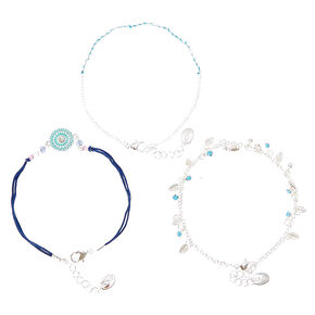 Three Pack Beaded Anklet Set,