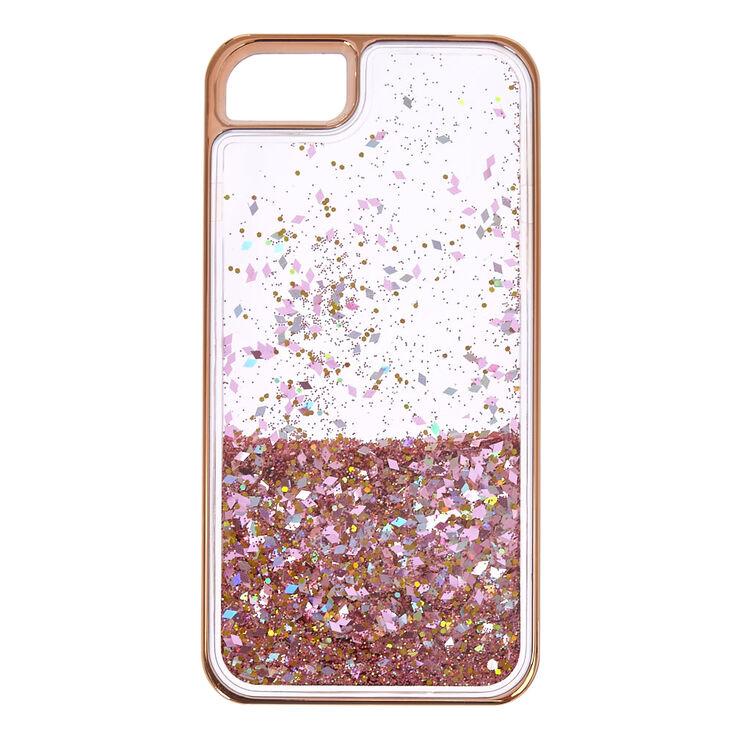 Rose Gold-Tone Liquid Filled Glitter Phone Case,