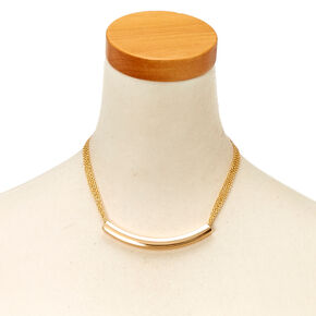 Gold-Tone Curved Bar and Chain Necklace,