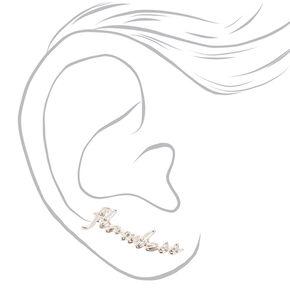 Silver-tone Cursive Flawless Ear Crawlers,
