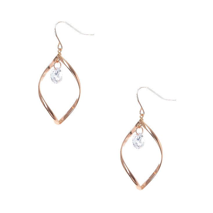 Rose Gold-tone Open Swirl with Cubic Zirconia Stud Drop Earrings,