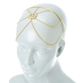 Gold tone Filigree Flower Headchain Headband,