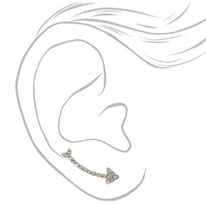 Silver-tone Faux Crystal Arrow Ear Crawlers,