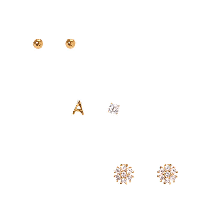 18k Gold Plated A Initial Stud Earring Set,