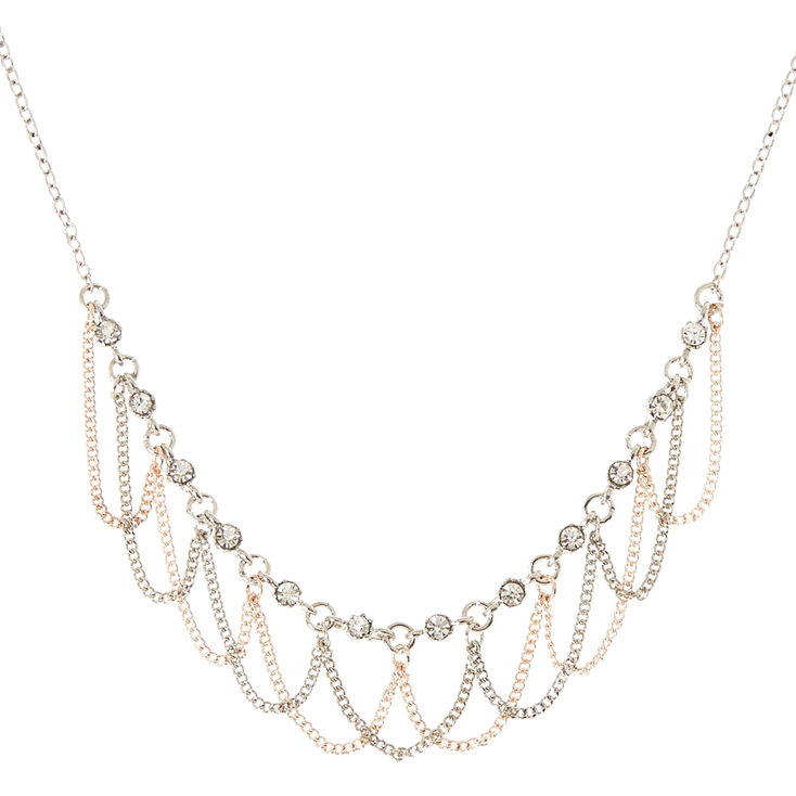 Silver and Rose Gold-Tone Rhinestone Loop Necklace,