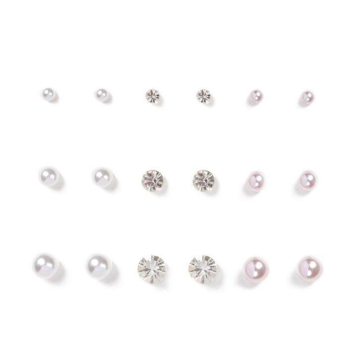 Graduated Pearl and Crystal Stud Earrings Set of 9,