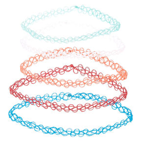 5 Pack Multi Color Tattoo Chokers,