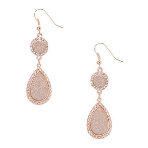 Rose Gold-tone and Silver Glitter Circle and Teardrop Drop Earrings,