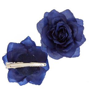 2 Pack Blue Shabby Rose Hair Clips,
