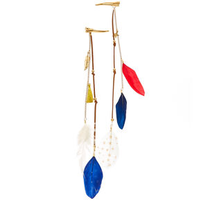 Americana Faux Suede and Feather Hair Clips,
