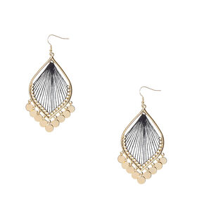 Gold-tone Dreamcatcher with Coin Fringe Drop Earrings,
